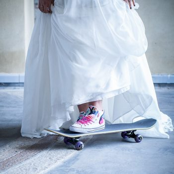 bride on skateboard